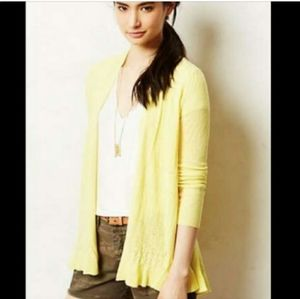Sparrow Anthropologie Sm Yellow Belted Cardigan